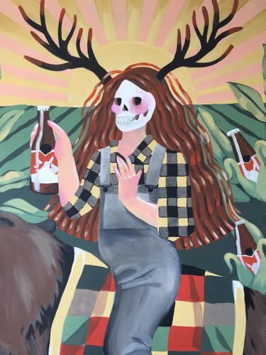 Folk Art Beer Girl