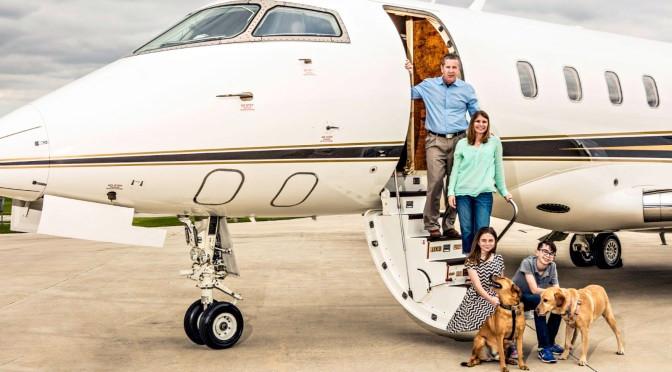 Family in private jet