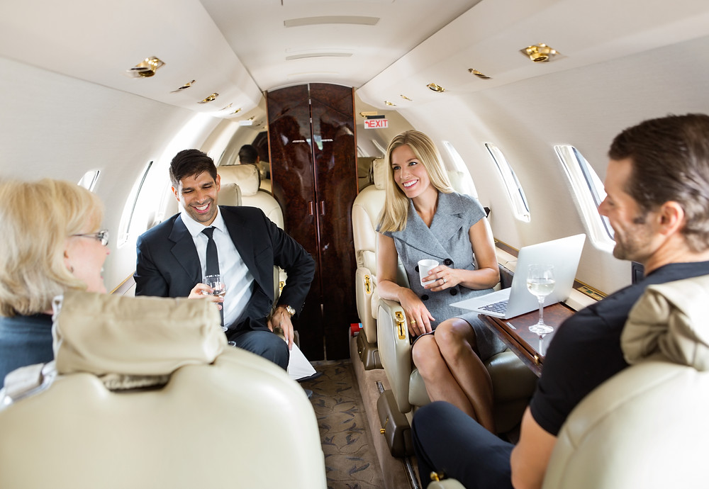 Clients having business meeting in a private jet.