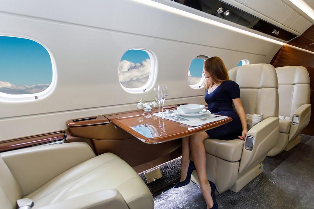 Passenger enjoys private jet cabin
