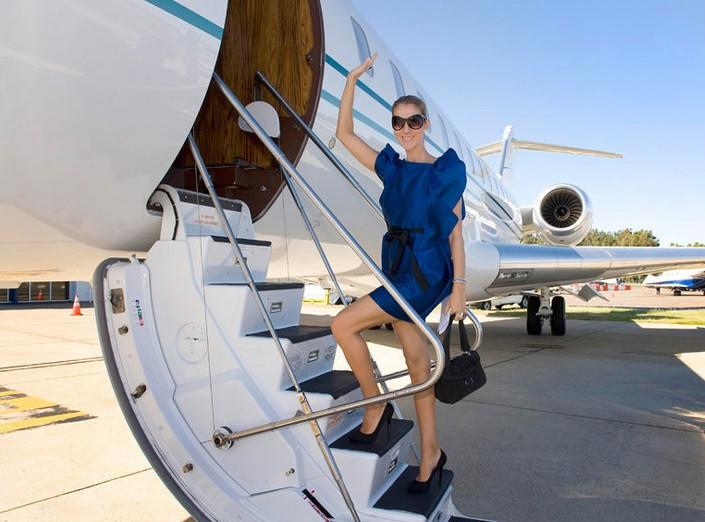 Celebrity in private jet
