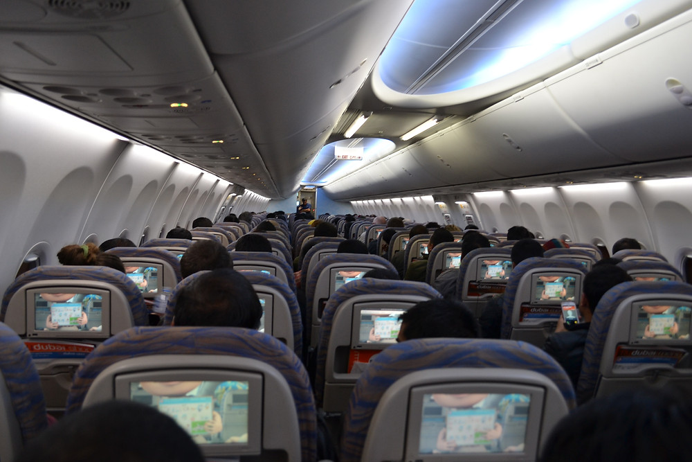 Cramped seating in commercial airlines.