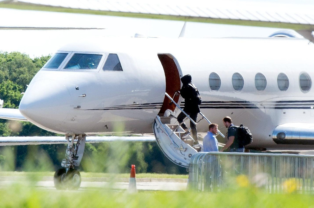 Taylor Swift boarding her private jet.