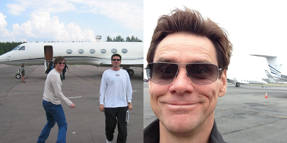 Jim Carrey and his private jet.