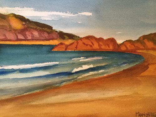 "No.20 Merv Moriarty - watercolour ""Bournda Island and Headland"""