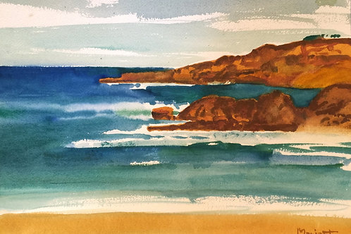 "No.22 Merv Moriarty - watercolour ""Bournda Headland"""
