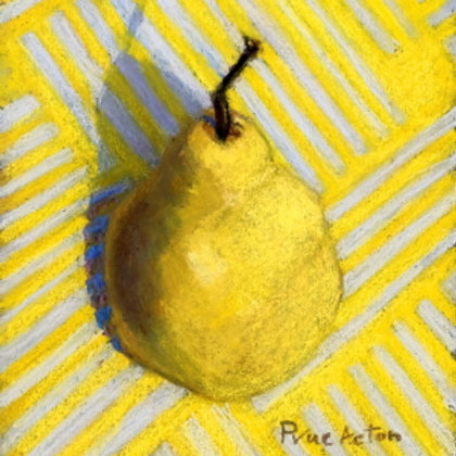 Prue Acton - Print. Pear #1. Yellow Pear on Yellow 21x27cm