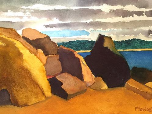 "No.14 Merv Moriarty - watercolour ""Rocks, Bournda Beach North"""