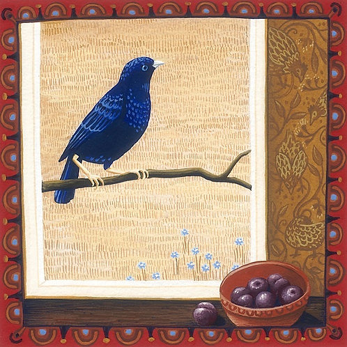 Annie Franklin - giclee print - Bowerbird and plums