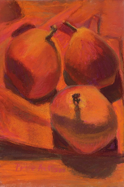 Prue Acton - Print. Pear #6 Rose Pears on Red 20x25cm (approx)