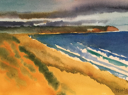 "No.12 Merv Moriarty - watercolour ""North to Turingal Head"""