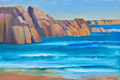 "No.05 Merv Moriarty - ""Surf and Rocks, Turingal Head"""