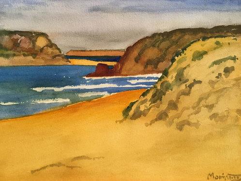 "No.15 Merv Moriarty - watercolour ""Bournda Island and Headland"""