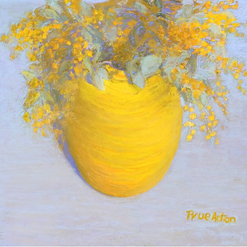 Prue Acton - Print. Wattle #2 Yellow, Large Vase 25x25cm