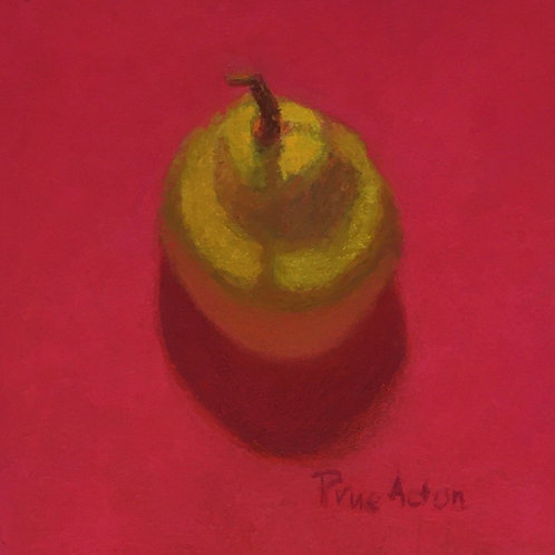 No.24 Prue Acton - Pear #4 Yellow Pear on Red