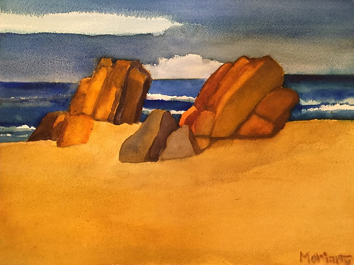 "No.13 Merv Moriarty - watercolour ""Rock Tors Bournda Beach"""