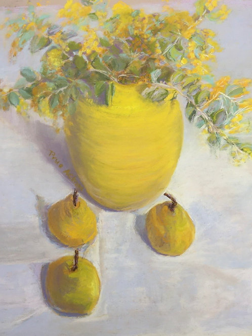 No.23 Prue Acton - Wattle #3 Yellow, Vase, Pears