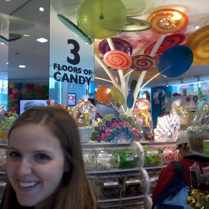 Happy in a candy store