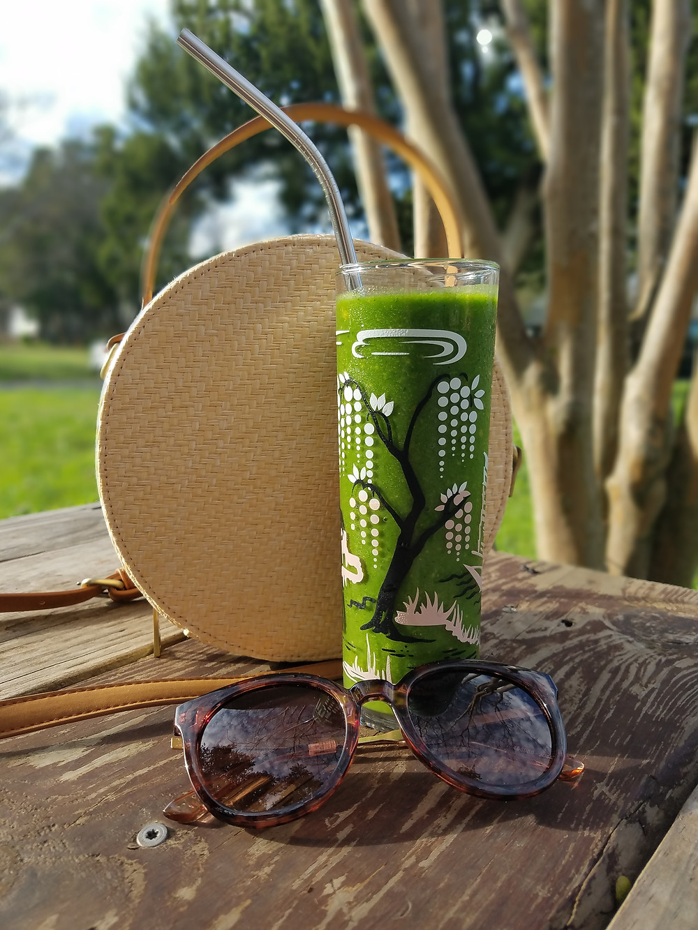 Green Smoothie, Sunglasses, Summer Purse