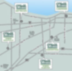 Map:  Cleveland, Ohio west side communities, Bay Village, North Ridgeville, North Olmsted, Lakewood, Fairview Park, 44140, 44126, 44107, 44070, 44039