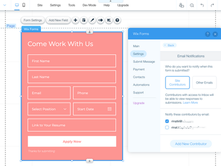 New Feature in Wix Forms - Multiple E-mail Recipients
