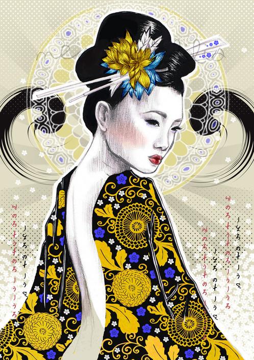 Geisha De Dos affiche pop geisha, portrait de femme en kimono