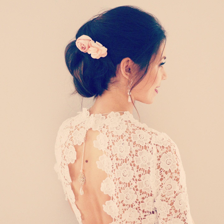 Peigne A Cheveux Mariage Fleurs Rose Accessoire De Cheveux Boheme Rose Poudre