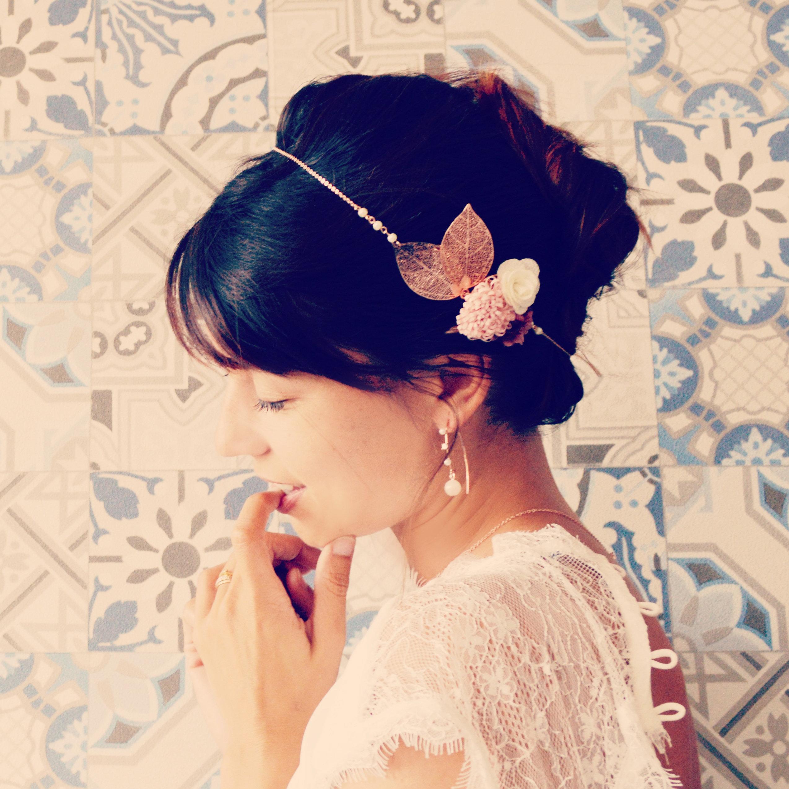 Accessoire De Cheveux Mariage Or Rose Fleurs Rose Accessoire Mariee Champetre