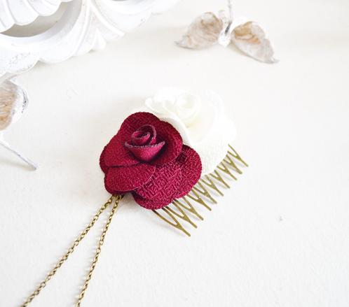 peigne cheveux fleurs bordeaux et ivoire accessoires mariage boh me mes tites lilis. Black Bedroom Furniture Sets. Home Design Ideas
