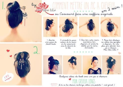 Pic A Cheveux Japonisant Original Double Eventails Motifs Vagues