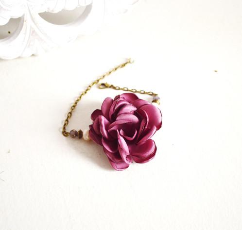 bracelet fleurs mariage prune et bronze accessoires mariage boh me mes tites lilis. Black Bedroom Furniture Sets. Home Design Ideas