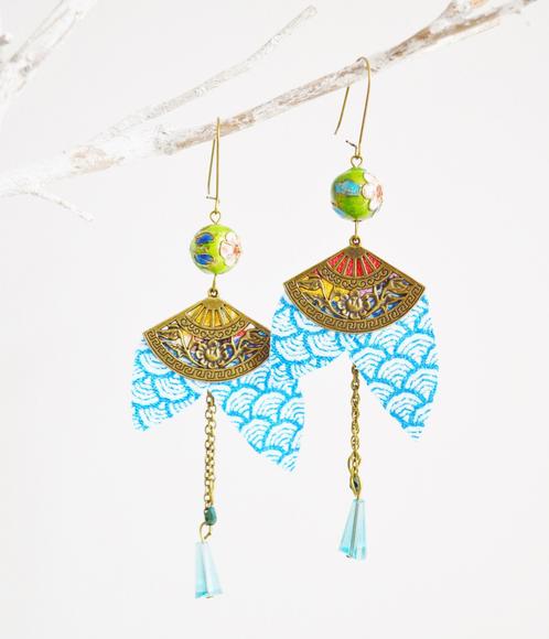 boucles d 39 oreille tissus japonais vagues turquoise accessoires mariage boh me mes tites lilis. Black Bedroom Furniture Sets. Home Design Ideas