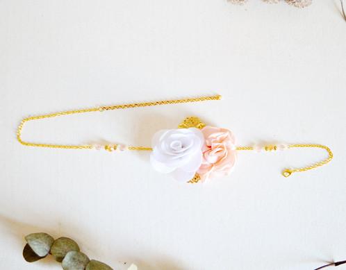Headband fleurs rose poudré et blanc , Accessoires cheveux mariage ,  accessoires coiffure demoiselle d\u0027honneur/enfant/cortège/invitée mariage