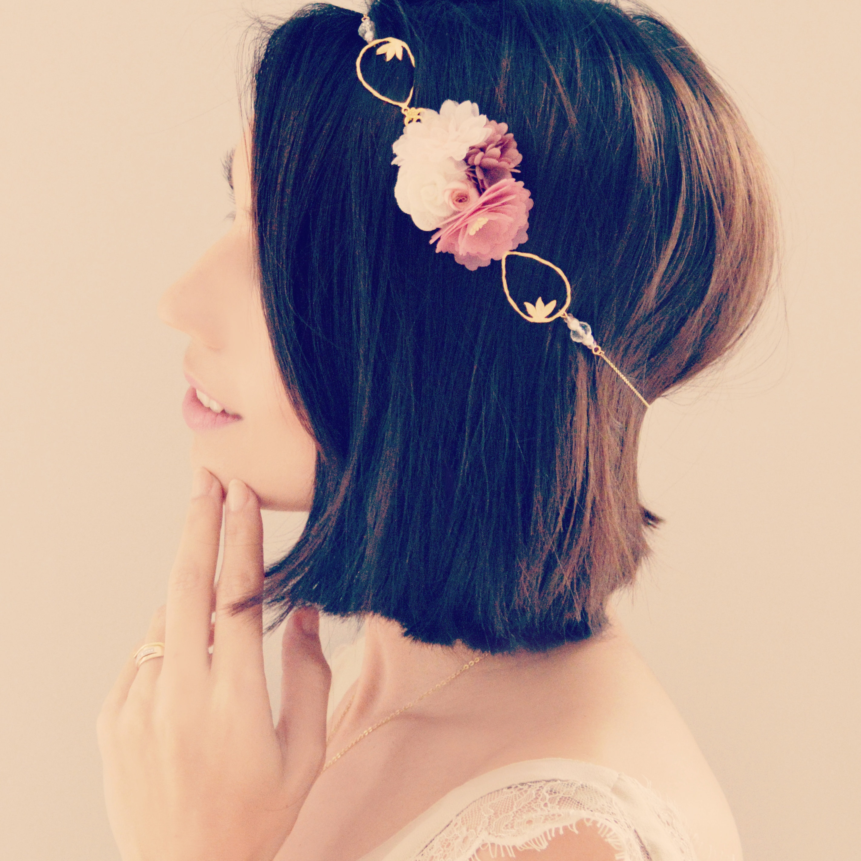 Accessoire De Cheveux Mariage A Fleurs Rose Poudre Et Vieux Rose