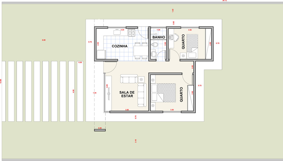 Planta Casa AC2 - Casa com 2 Quartos