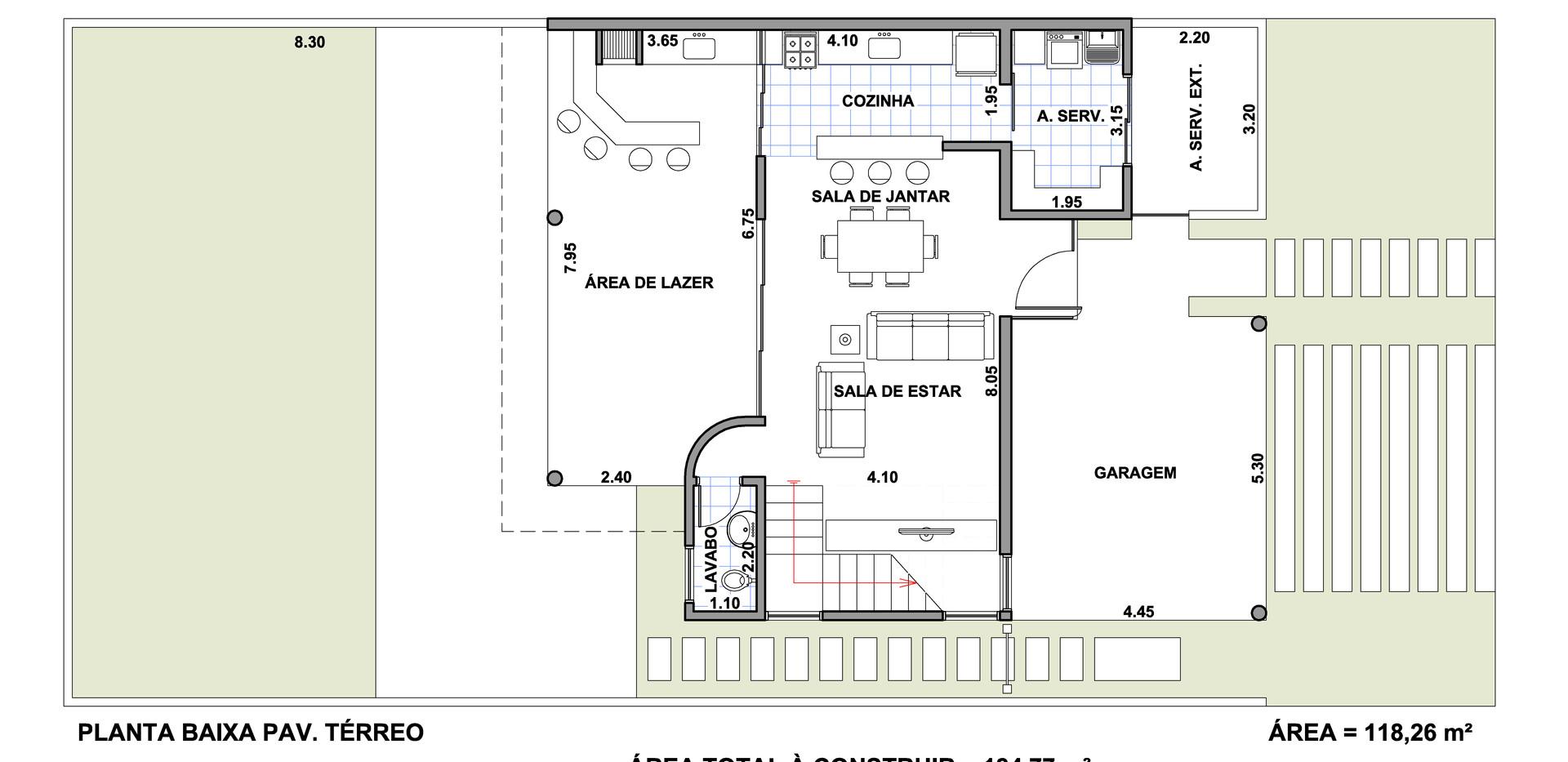 Planta Sobrado Casa 3 Quartos