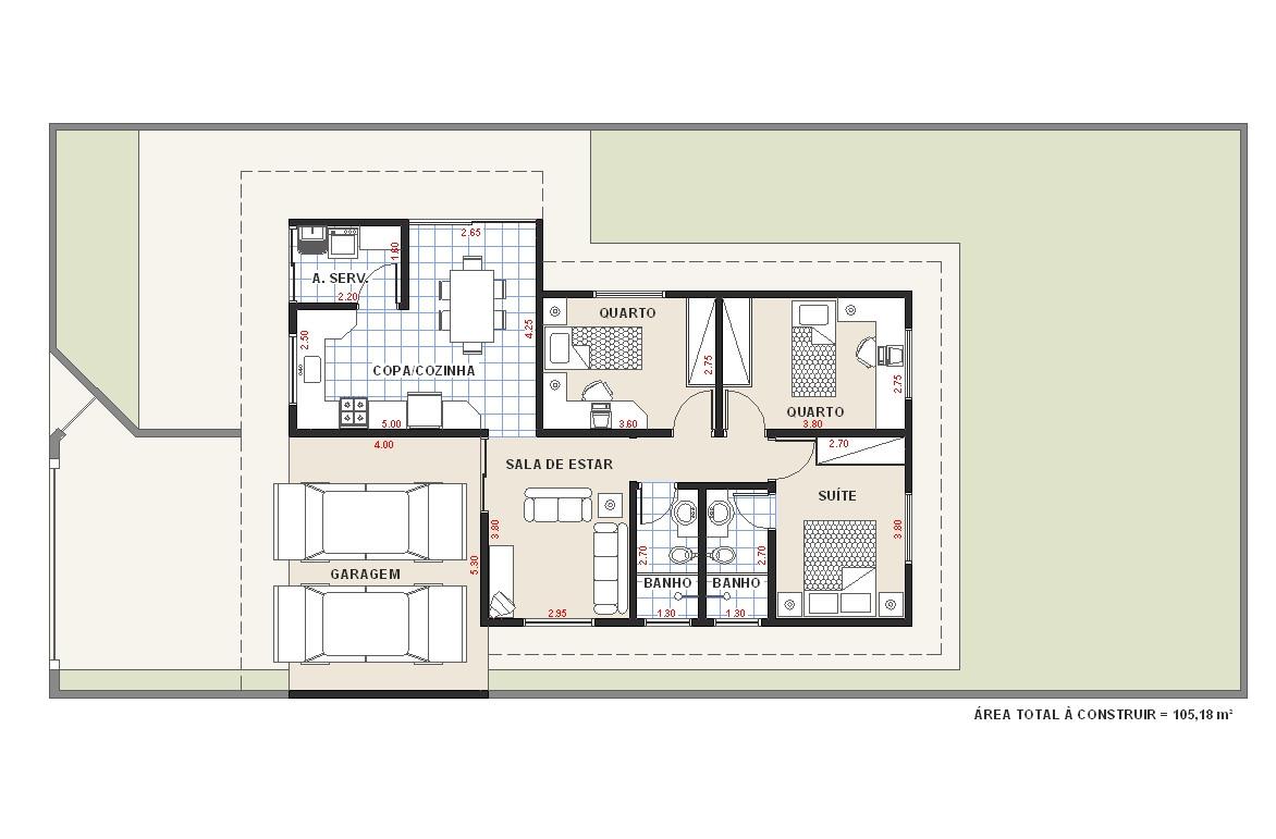 Planta Casa 3 Quartos TW3