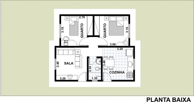 MC2 -  Planta de Casa com 2 Quartos
