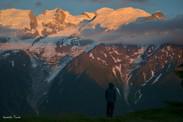 Reveil face au sommet du Mont Blanc.