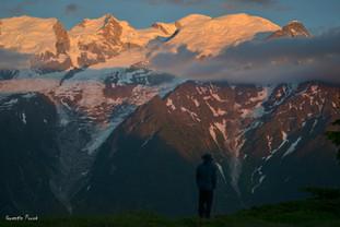 Dernières lueurs sur le Mont Blanc.