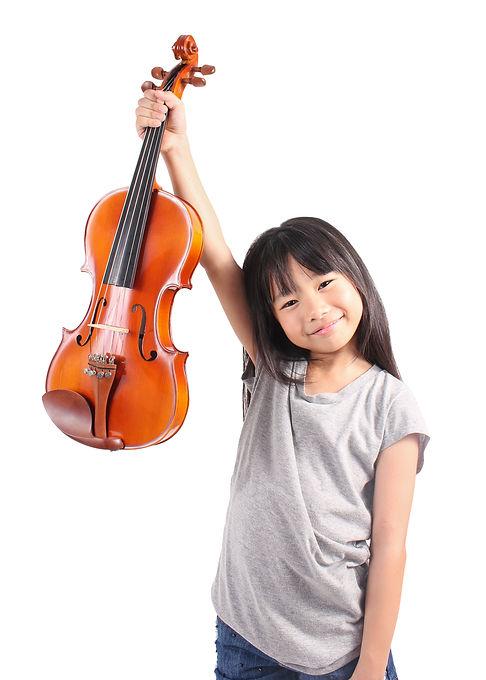 Little asian girl holding the violin iso