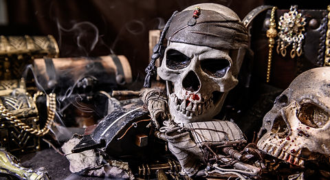 Pirate with human skull. Treasure chest