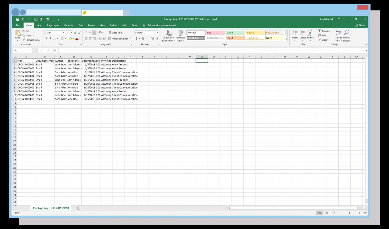 Excel Priv Log