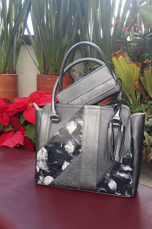 SET CARTERA GRIS PLOMO Y BILLETERA