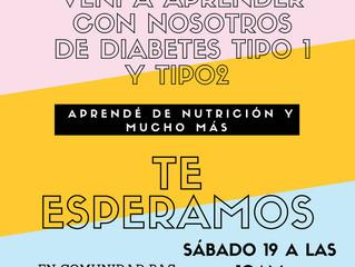 """Charla acerca de:  """"Consejos prácticos para la alimentación en las personas con diabetes tipo 1 y 2."""