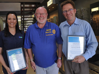 Rotary gives recognition to businesses involved in Rotary Family Health Days.