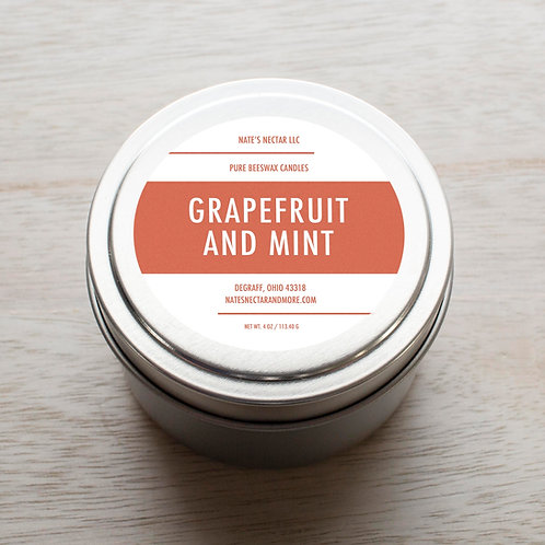 Grapefruit and Mint Beeswax Candle