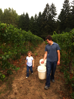 Casey helping young Paloma pick