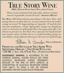 True Story Wine Rose Back Label 2015