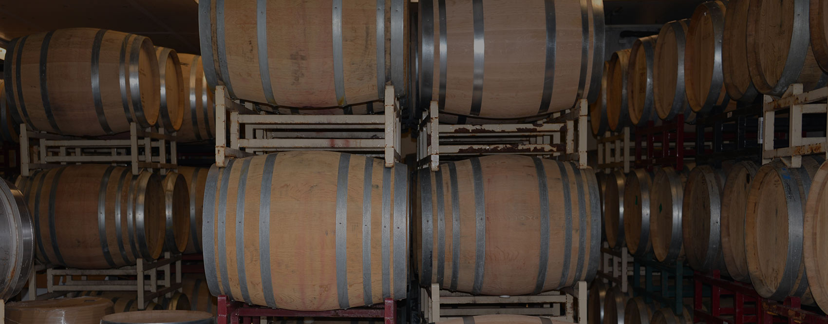 Barrels stacked on racks